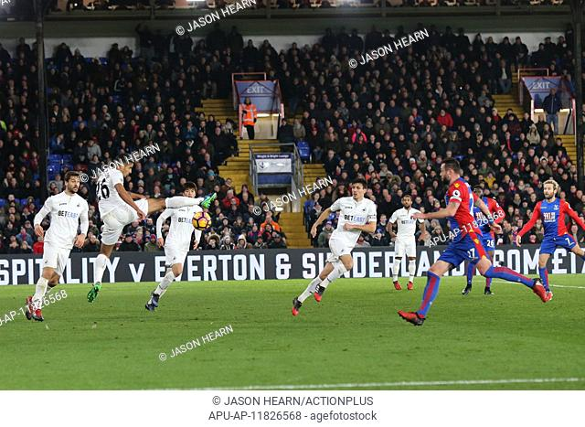 2017 EPL Football Crystal Palace v Swansea Jan 3rd. 03.01.2017. Selhurst Park, Crystal Palace, London, England. EPL Premier league football
