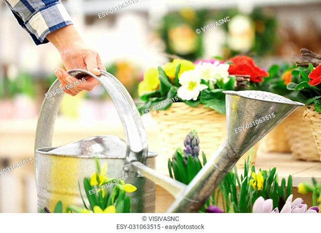 hand takes the watering can with flowers in the background