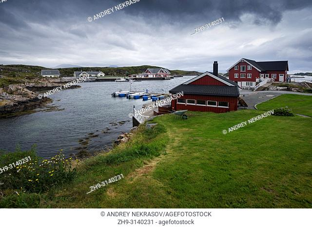 Norwegian landscapes on a cloudy, rainy day. Averoy, Norway