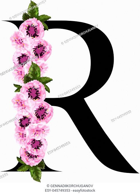 Letter R floral ornament isolated on white background