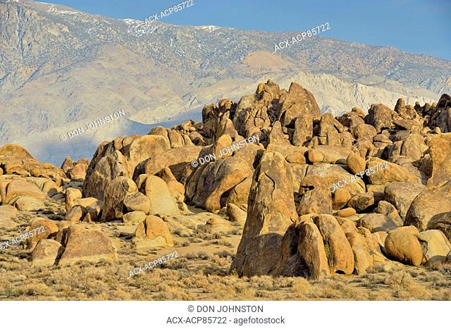 Biotite monzogranite boulders in the Alabama Hills, BLM Alabama Hills Recreation Area, Lone Pine, California, USA