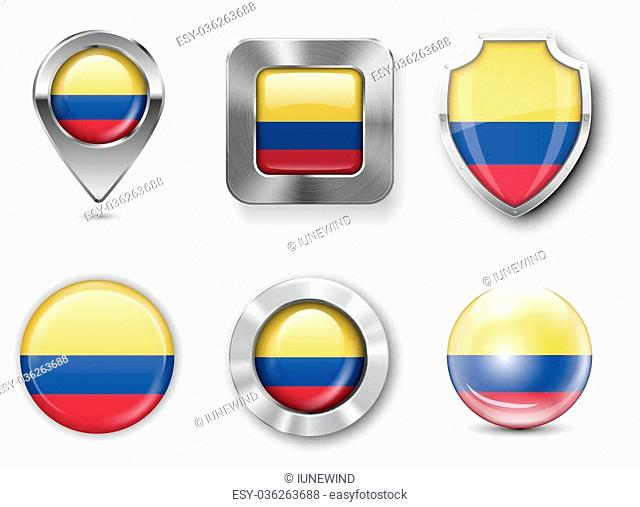 Colombia, Metal and Glass Flag Badges, Buttons, Map marker pin and Shields. Vector illustrations