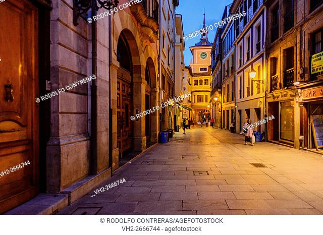 Oviedo streets at night, Asturias (Spain)