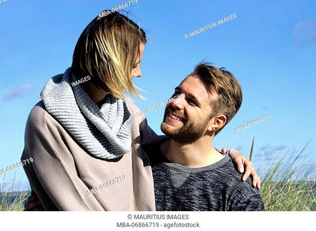 Couple in love, Baltic Sea, dunes, eye contact, portrait