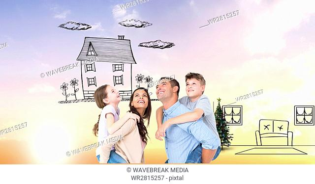 Digital composite image of happy family imagining new home
