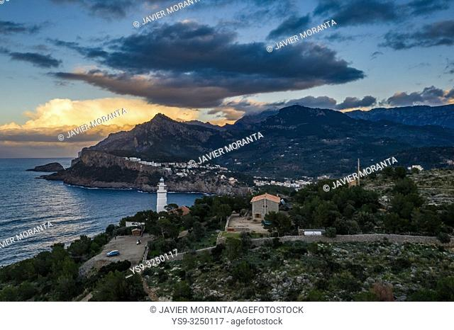 Aerial photograph of the Cap Gros lighthouse at the Port of Soller, Mallorca, Balearic Islands, Spain