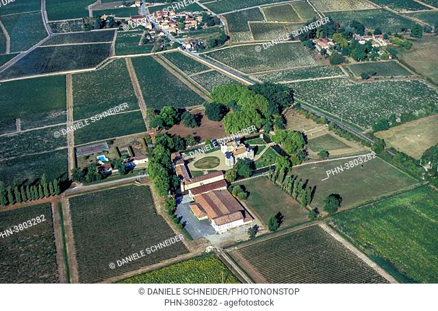 France, Gironde, Medoc, aerial view of the Chateau d'Issan, AOC Margaux's Grand Cru Classe
