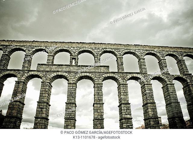 Roman aqueduct, Segovia, Castille Spain