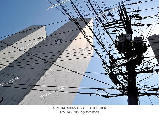 Busan (South Korea): modern architecture and electricity wires mess in the Dong-gu neighborhood
