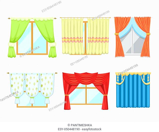 Window curtains and room blinds set. Jalousie for house or creative home interior vector illustration. Style apartment drape fabric classic home decor