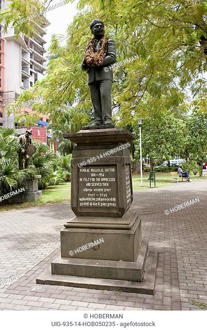 Statue of Dr Manilal Maganlal 1881-1956 in central Port Louis, Mauritius