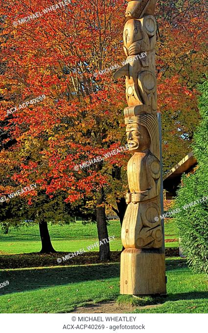 Totem pole carved by Robert Yelton of the Squamish Nation, 2009, added to the collection at Brockton Point, Stanley Park, Vancouver, British Columbia Canada