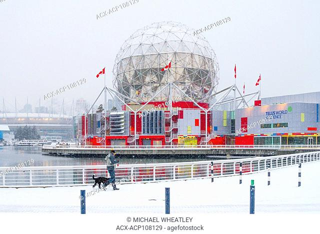 Science World in winter, False Creek seawall, Vancouver, British Columbia, Canada