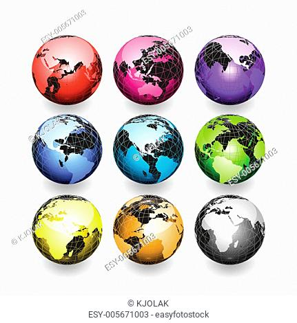 Set of Earth globes