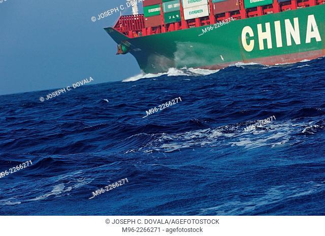 Near large container ship, Santa Barbara Channel, California, USA