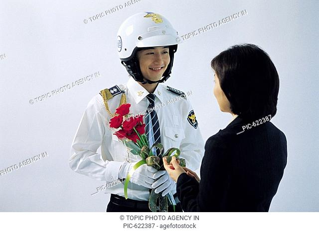 Policeman and Young Woman, Korea