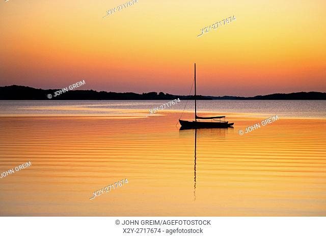 Sailboat at sunset, Cape Cod, Massachusetts, USA