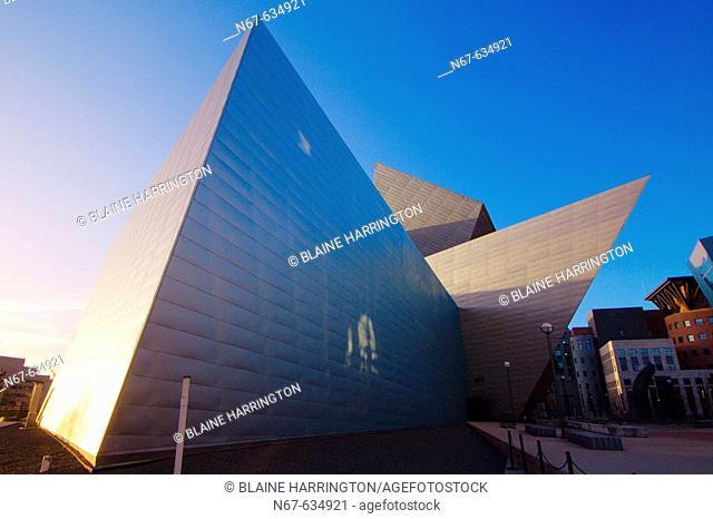 Frederic C. Hamilton Building of the Denver Art Museum at sunset, Denver, Colorado USA