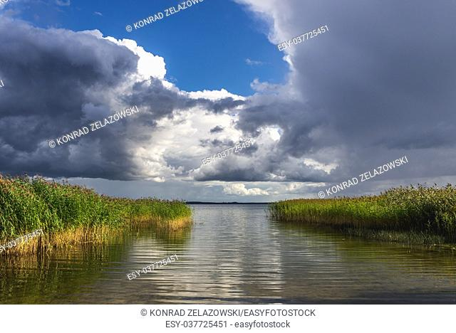 Sniardwy Lake in Warmian-Masurian Voivodeship, the largest lake of Poland. View from shore near Dziubiele village