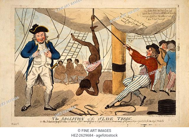 The Abolition of the Slave Trade, Or the inhumanity of dealers in human flesh exemplified in Captn. Artist: Cruikshank, Isaac Robert (1789-1856)