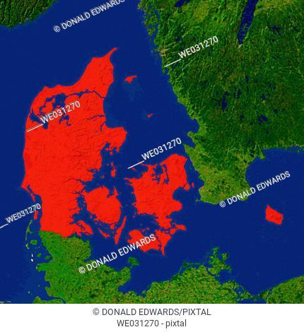 Highlighted satellite image of Denmark