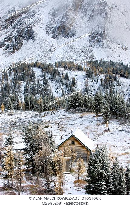 Jumbo Pass cabin after October snowstorm, Purcell Mountains British Columbia Canada