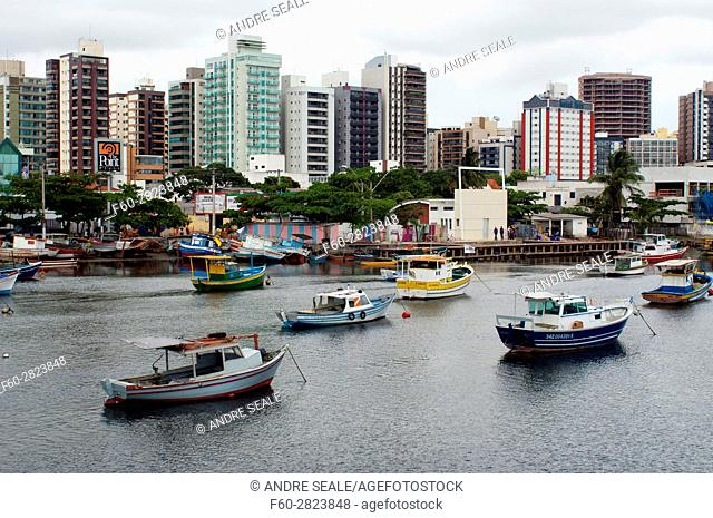 Fishing boats at Santa Maria River, Pontal de Camburi, Vitoria, Espirito Santo, Brazil