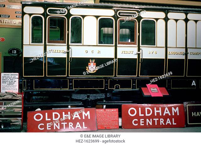 Preserved Great Central Railway coach, Oxenhope Railway Museum, West Yorkshire. The Great Central Railway (GCR) was the name adopted by the Manchester