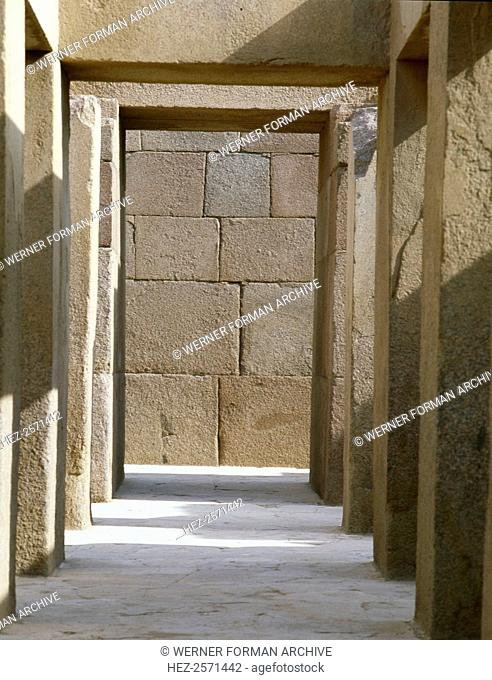 The valley temple of the pyramid of Khephren. Country of Origin: Egypt. Culture: Ancient Egyptian. Date/Period: Old Kingdom, 4th dynasty