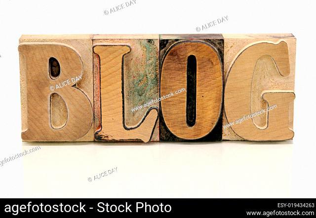 blog in letterpress wood type