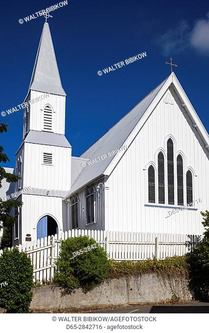 New Zealand, South Island, Canterbury, Banks Peninsula, Akaroa, St. Peter's Anglican Church, exterior