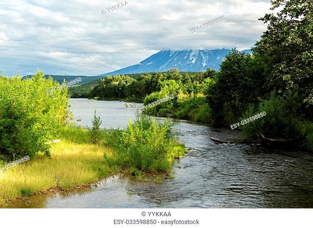 River Zhupanova. Kronotsky Nature Reserve on Kamchatka Peninsula. View from helicopter
