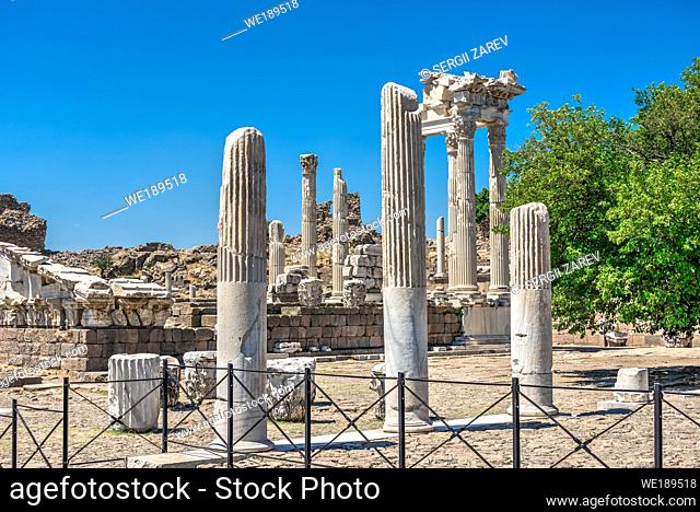 Ruins of the Temple of Dionysos on an Ancient Greek city Pergamon in Turkey