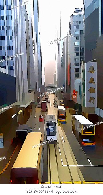 watercolour filter view of buses and office buildings, Hong Kong, China