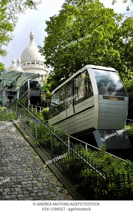 The funicular railway leading to Church Sacre Coeur in the Montmartre District Paris France