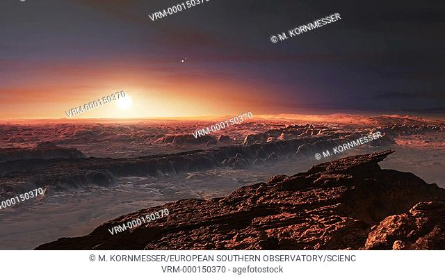 Proxima b. Animated view of the surface of Proxima b, a roughly Earth-sized rocky planet that orbits the red dwarf star Proxima Centauri