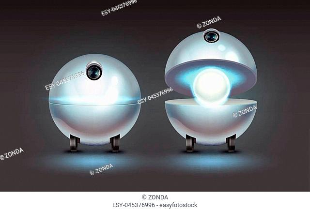 Vector concept of fictional spherical robot assistant with camera isolated on dark background