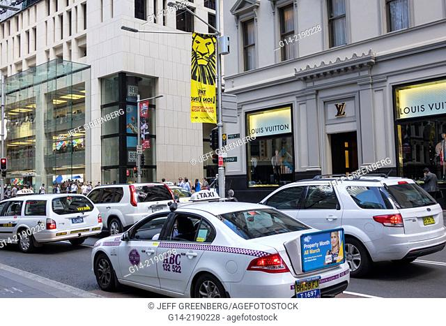 Australia, NSW, New South Wales, Sydney, Central Business District, CBD, George Street, taxi, cab, traffic, Louis Vuitton, shopping, men's, clothing, fashion