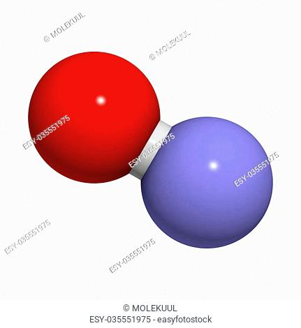 Nitric oxide (NO) free radical and signaling molecule, molecular model. It is also known as the endothelium-derived relaxing factor (EDRF)