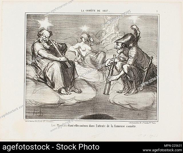 Even the Planets are Watching with Interest the Arrival of the Famous Comet, plate 9 from La Cométe De 1857 - 1857 - Honoré Victorin Daumier French