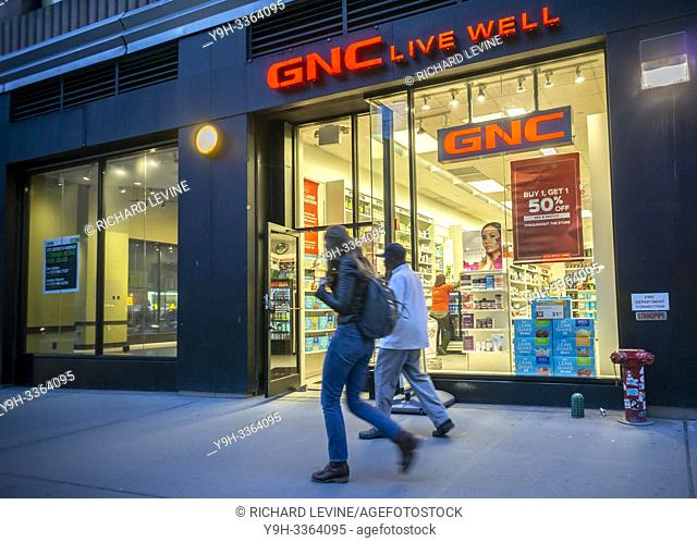 A GNC store in New York on Tuesday, April 16, 2019. (© Richard B. Levine)