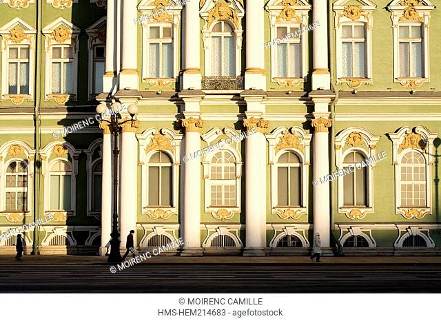 Russia, Saint Petersburg, Winter Palace, hosting the Hermitage Museum, built by Bartolomeo Rastrelli 1754 - 1762, listed as World Heritage by UNESCO