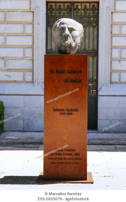Bust of Antonio Machado outside the Building of National Library - Biblioteca Nacional. Antonio Cipriano José María y Francisco de Santa Ana Machado y Ruiz
