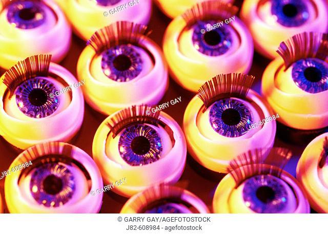 Rows of toy dolls eyes
