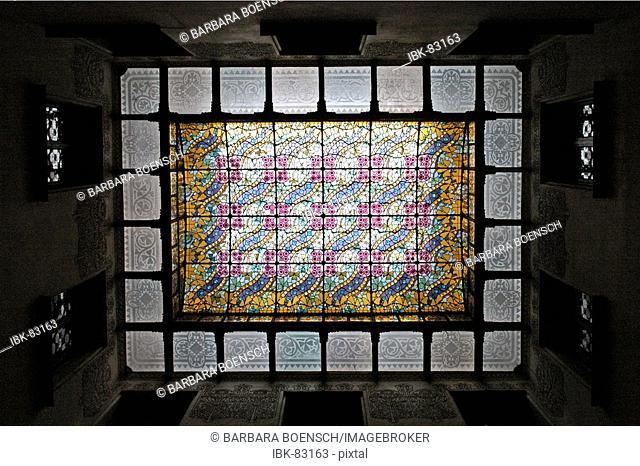 Glass ceiling in the Casa Amatller, architect Josep Puig i Cadafalch, Art Nouveou, glass window, Passeig de Gracia, Barcelona, Catalonia, Spain