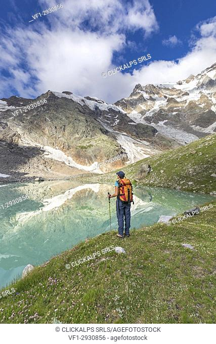 A girls looks the Locce Lake at the foot of the East face of Monte Rosa Massif (Locce Lake, Macugnaga, Anzasca Valley, Verbano Cusio Ossola province, Piedmont