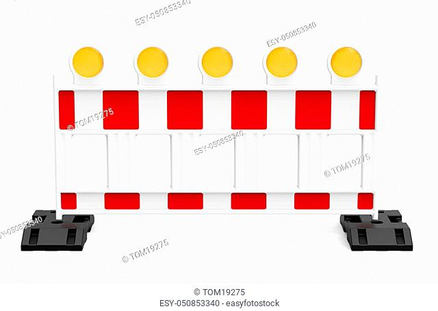 Street barrier, isolated on white background 3D rendering