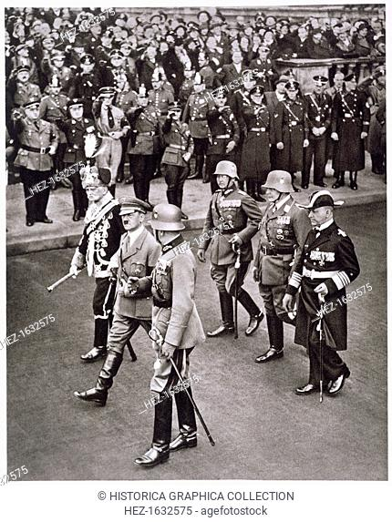 Adolf Hitler and leaders of the armed forces at the Heroes' Memorial ceremony, 17th March 1935. From Deutsche Gedenkhalle: Das Neue Deutschland compiled by...