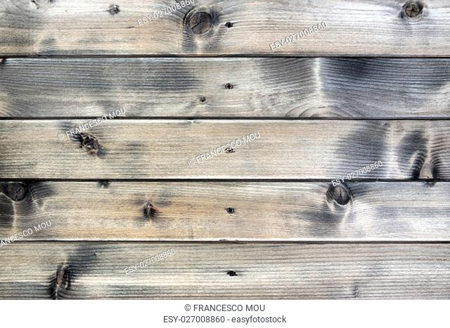 Closeup of a rustic wall built with natural wood planks