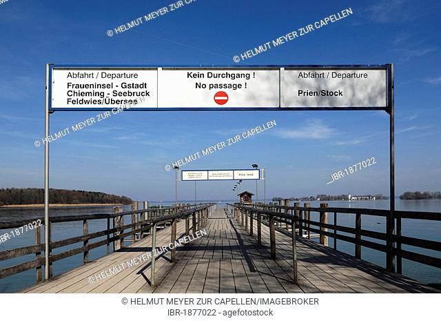 Ferry pier on Herreninsel island, Herrenchiemsee, Upper Bavaria, Germany, Europe